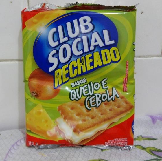Clube social recheado queijo e cebola