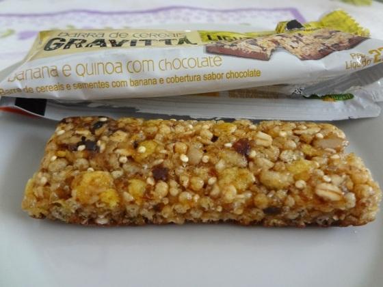 Barra de Cereal de Banana e Quinoa com chocolate - Gravittá