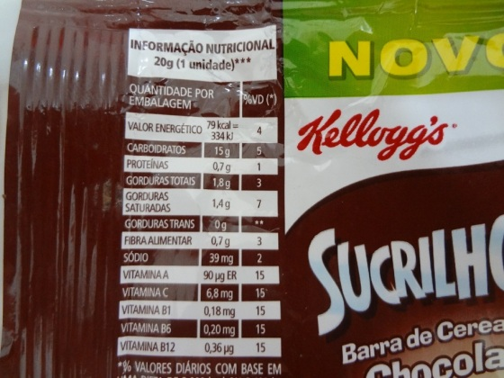 sucrilhos barra cereal sabor chocolate
