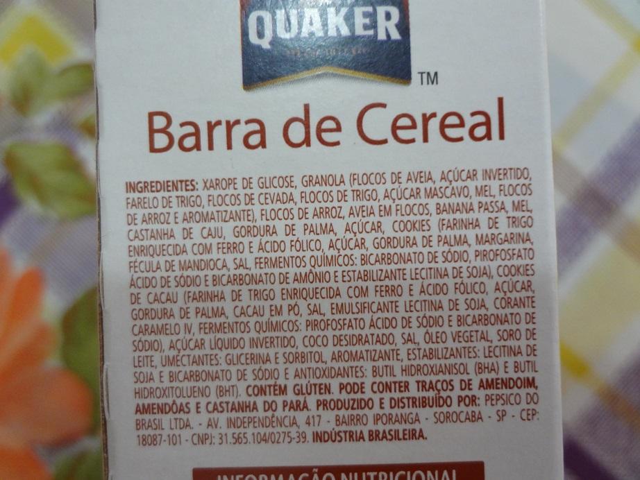 barra de cereal banana com chocolate quaker