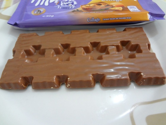milka collage caramel biscuit and chocolate drops
