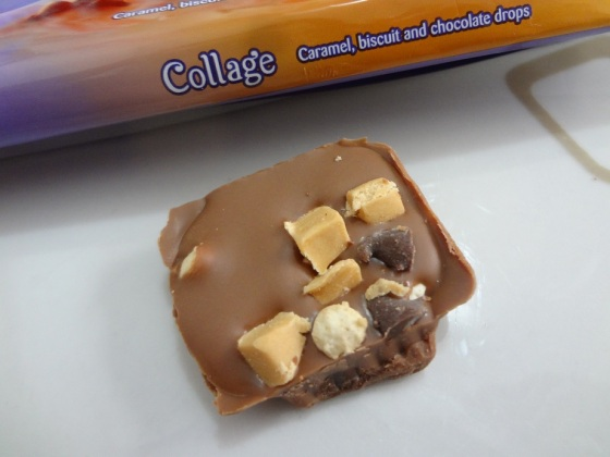 milka collage caramel, biscuit and chocolate drops